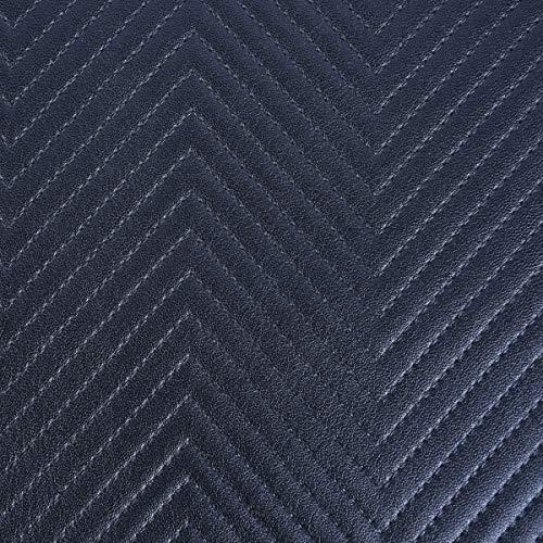 SCHÖNER LEBEN. Piel sintética Capiton pespunte zigzag azul metálico 1,4 m de ancho