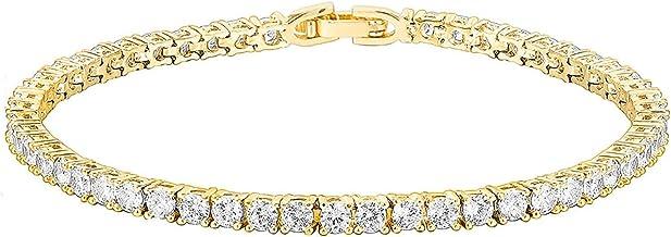 PAVOI 14K Gold Plated Cubic Zirconia Classic Tennis Bracelet | Gold Bracelets for Women | Size 6.5-7.5 Inch