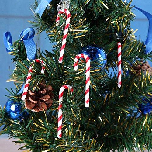 Demiawaking 50pcs / Lot Bastoncini di Zucchero Ciondolo Decorazioni per L'Albero di Natale Pendente Regalo di Natale (6.5CM)