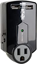 Tripp Lite 3 Outlet Portable Surge Protector Power Strip, Direct Plug in, 2 USB, $5,000 Insurance (SK120USB)
