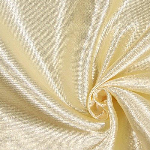 Fabulous Fabrics Satin Creme, Uni, 148cm breit – Satin zum Nähen von Kissen, Tischdecken und Bettwäsche – Meterware erhältlich ab 0,5 m
