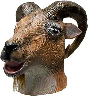 Latex Goat Mask Halloween Costume Party Rubber Full Head Animal Head Mask Ram Horned Head Mask
