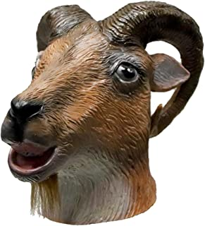 Latex Goat Mask Halloween Costume Party Rubber Full Head Animal Head Mask Ram Horned Head Mask