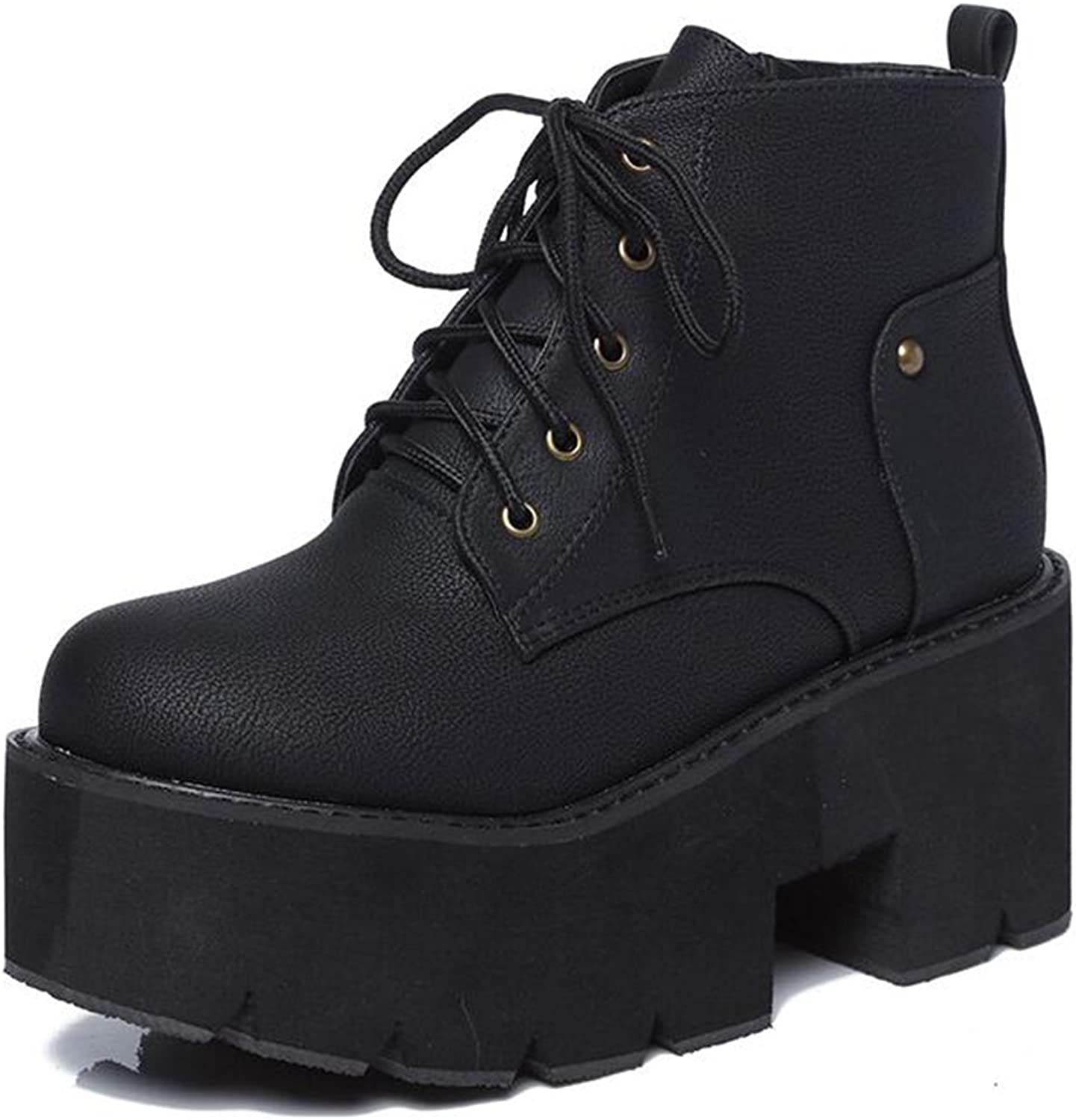 IDIFU Women's Comfy Mid Chunky Heels Platform Lace Up Side Zipper Ankle Boots Riding Booties