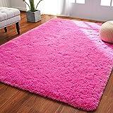 Softlife Fluffy Bedroom Area Rugs 4 x 5.3 Feet Shaggy Nursery Rug for Girls Baby Kids Dorm Room Modern Home Decorative Plush Indoor Floor Carpet, Hot Pink