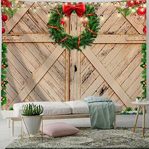 PROCIDA Christmas Tapestry Farmhouse Wreath Rustic Door Backdrop Wooden Board Xmas Blankets for Bedroom Living Room Decor Home Decorations with Nails 80' W x 60' L