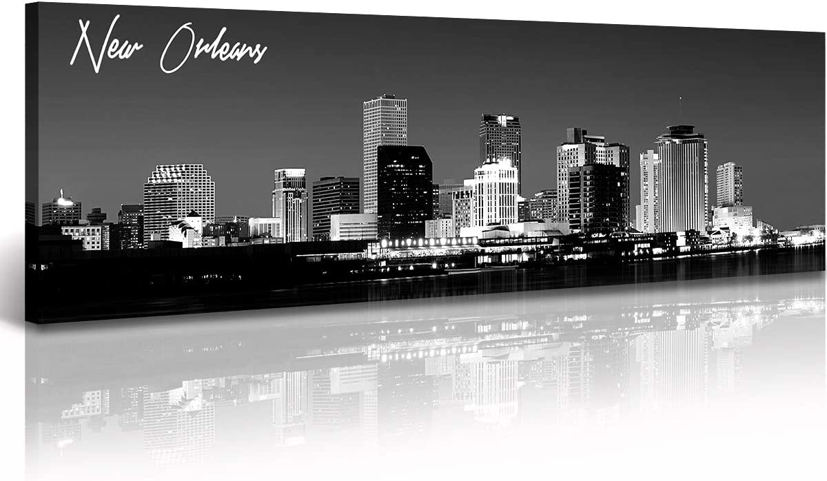 DJSYLIFE New Orlean Canvas Wall Art Decor City Skyline Pictures Poster Artwork Black and White Panorama Cityscape Painting for Bedroom Office Living Room Decoration Ready to Hang 13.8