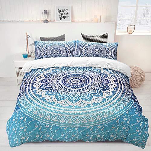 Bohemiskt påslakan blå 3 delar mandala sängkläder set med 2 örngott mjukt mikrofiber påslakan med dragkedja för flickor king size 230 x 220 cm