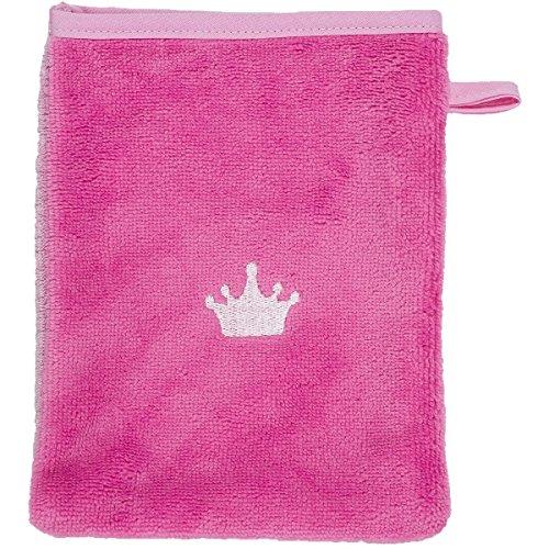 Smithy Waschlappen aus Multifaser - hochwertiger Waschhandschuh mit Motiv KRONE, Farbe pink