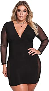 ROSIANNA Women's V-Neck Lace Mesh See Through Perspective Bodycon Mini Short Plus Size Dresses
