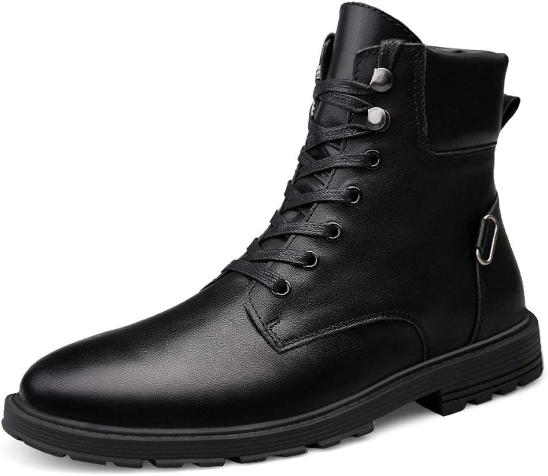DANDANJIE Mens Sneakers Mountaineer shoes Rubber Hiking Waterproof Martin Style Tooling Boots Anti-Slip High-Top Sneakers