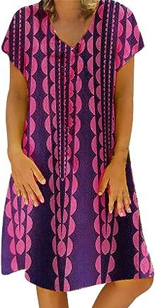 e62359a1717 Women Plus Size Dress Short Sleeve Sundress New Print Casual Loose Dress  Beachwear by Gyouanime