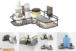 Home Essentials Magic Sticker Series Self-Adhesive Metal Bathroom Corner Shower Caddy (Black Color)