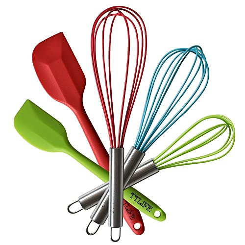 TTLIFE Lot de 5 Multicouleur Ustensiles à patisserie en silicone - 3 fouets et 2 spatules
