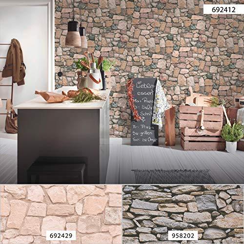 Naturstein Tapete beige grau 6924-12 | günstige Papiertapete Steinoptik 692412 | Tapete mit Steinen für Wohnzimmer, Küche, Flur online kaufen!