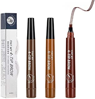 tattoo eyebrow pencil waterproof Eyes Makeup with a Micro Fork Tip Applicator Creates Natural Looking Brows Effortlessly All Day (Dark brown/Light Brown/Red-brown)