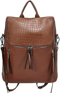 Genuine Leather Women Backpack Purse Fashion Large Designer Travel Ladies Shoulder Bag with Crocodile Flap