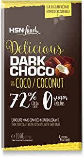 Tableta de Chocolate Sin Azúcar de HSN Foods, Dark Coconut