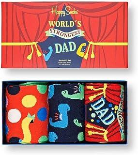 Happy Socks - Confezione da 3 paia di calzini da uomo, per festa del papà, multicolore, 41-46