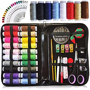 XL Sewing KIT, DIY Quality Sewing Supplies, 28 XL Spools of Thread, Extra 8 XL Most Useful Colors of Threads & 18 Extra Long Sewing pins - Beginners, Emergency, Kids, Summer Campers and Home