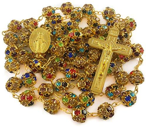 Nazareth Market Store Granos de circón Color Oro Rosario católico Collar Medalla Milagrosa Cruz