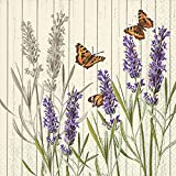 Home Collection Hogar Casa Cocina Textiles Set 60 Servilletas Papel Desechable 3 Capas Motivo Mariposas Lavanda