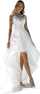 Elegant High Low Beach Wedding Dresses Lace Appliques Bridal Dress Sheer Back