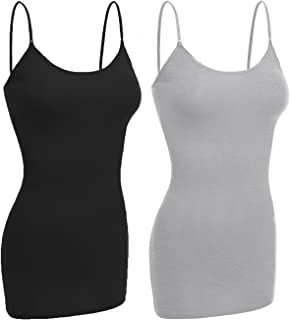 Emmalise Women Camisole Built in Bra Wireless Fabric Support Long Layering Cami