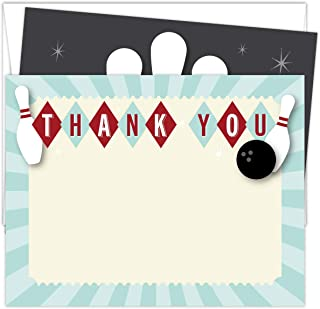 """Koko Paper Co Bowling Thank You Cards. Set of 25 5.5"""" x 4.25"""" Red and Navy Flat Note Cards and A2 White Envelopes. Printed..."""