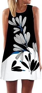 Women's Summer Plus Size Boho Sleeveless Tank Dress Floral Printed Tunic Casual Beach O-Neck Short Mini Dress