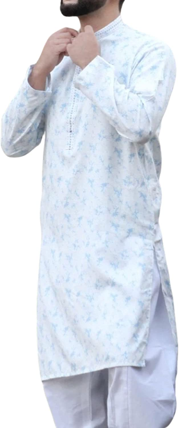 Mens Shalwar Kameez Self Printed Cotton Polyester Soft Casual Wear Four Colors Available