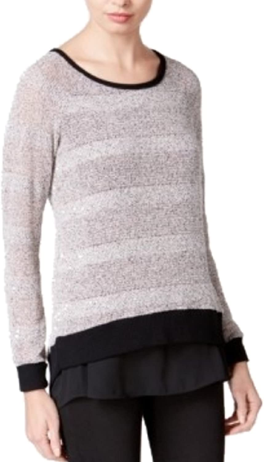Bar III Women's Asymmetrical Contrast Sweater Ballet Pink Combo Small