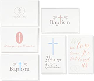 36 Pack Christian Religious Greeting Cards Bulk Box Set for Blessings on Your Dedication, Wedding Congratulations, Baptism, Christening for Baby Boys and Girls, 6 Assorted Designs 4 x 6 Inches
