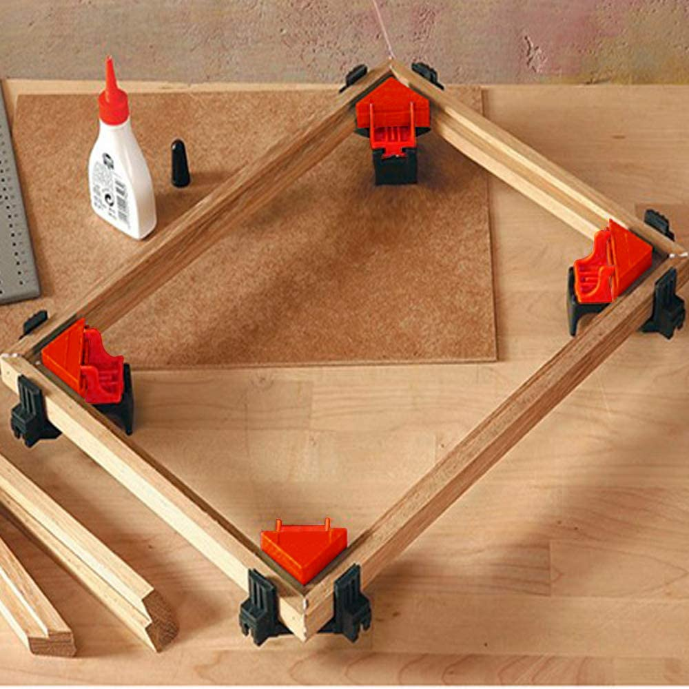 4 PCS Adjustable Swing Corner Clamp 90 Degree Right Angle Clamps Drilling Making Cabinets Welding Corner Clip Holder Woodworking Hand Kits Tools for Picture Frame Gluing Wood-Working