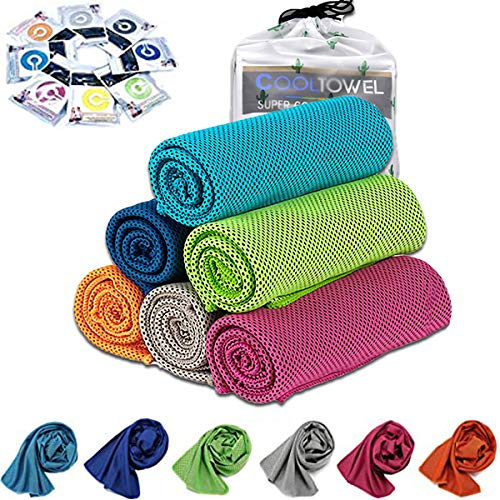 [6 Pack] Cooling Towel, Ice Sports Towel, Cool Towel for Instant Cooling,for Yoga, Travel, Golf, Gym,Camping, Fitness, Running, Workout & More Activities (35'x12')