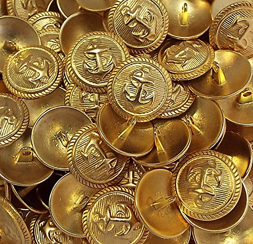 5 Knöpfe Anker gold 15 mm