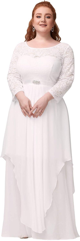 Ever-Pretty Women's Autumn Lace Long 税込 Sleeve Br 現金特価 Plus Chiffon Size