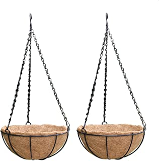 PERTTY 2 Pack Metal Hanging Planter Basket with Coco Coir Liner, 8