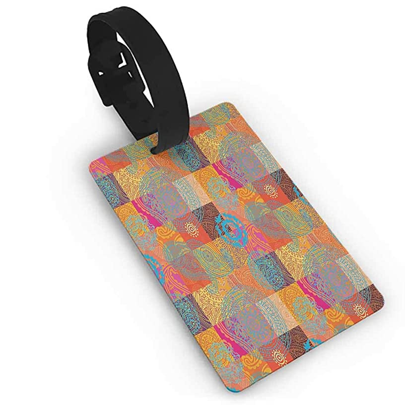 Creative Luggage Tag Batik Decor,Vintage Forms with Oriental Repeating Shapes and Lines Asian Authentic Decoration,Multi Good-looking