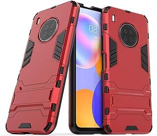 غطاء حماية 2 في 1 لهاتف هواوي واي 9 ايه (6.63 انش) مزود بمسند وذو طبقة هجينة مزدوجة لحماية الهاتف من الصدمات (احمر)