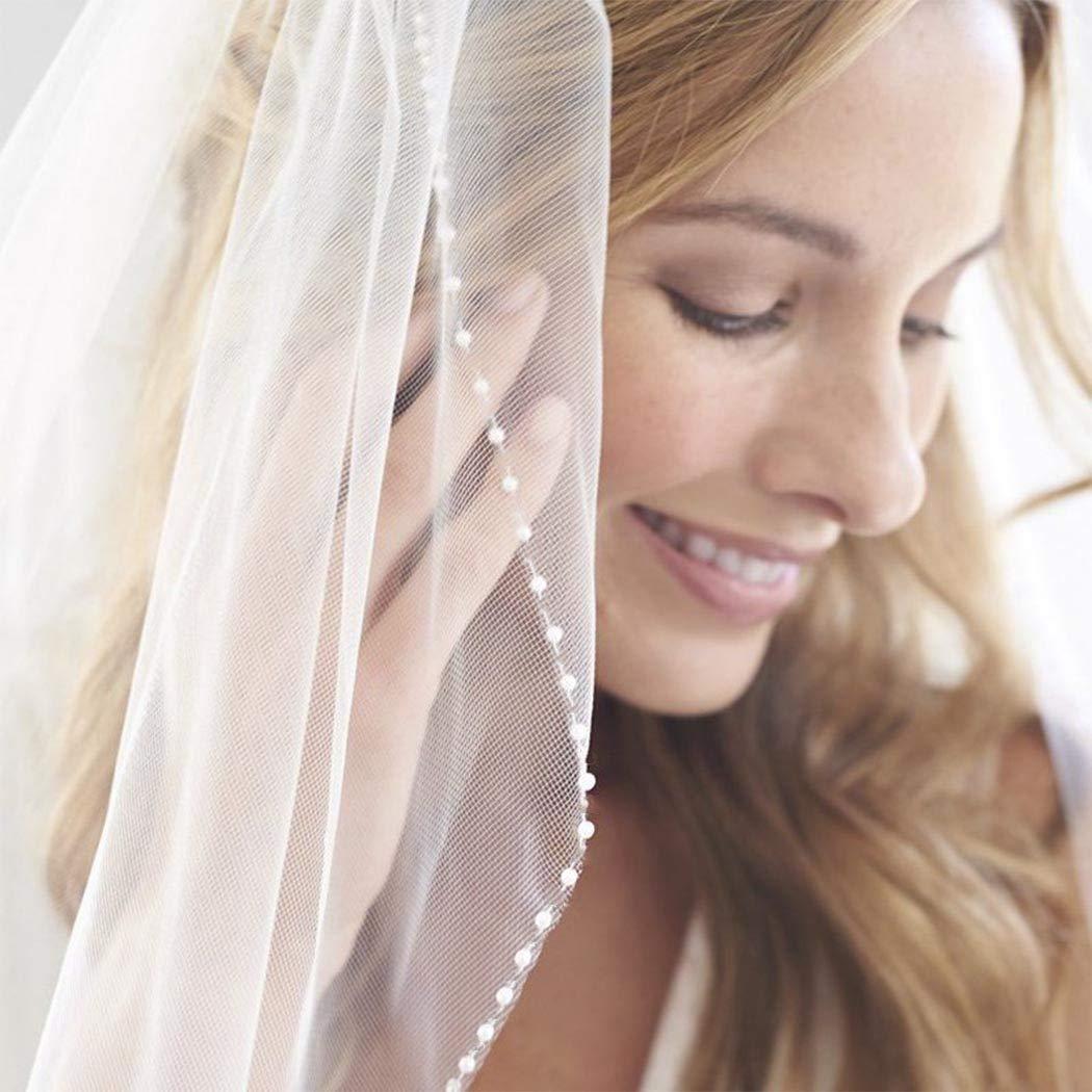 Aukmla Beaded Edge Wedding Veil Fingertip Crystal and Pearl Edge Veil Bridal Veil with Metal Comb Hand Made