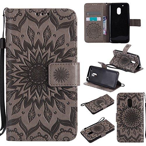 Nancen Compatible with Handyhülle Moto G4 Play Hülle,Motorola Moto G4 Play (5 Zoll) Leder Wallet Tasche Brieftasche Schutzhülle, Prägung Sonnenblume Muster