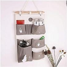 HXSD 7 Pocket Hanging Storage Bags Cotton Linen Closet Wall Hanging Organizers Mounted Wardrobe Cosmetic Jewelry Storage B...