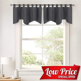 PONY DANCE Grey Window Valances - Short Curtains for Home Decoration Kitchen/Bathroom/Bay Windows, 52 x 18 inches, Grey, 2 Pieces