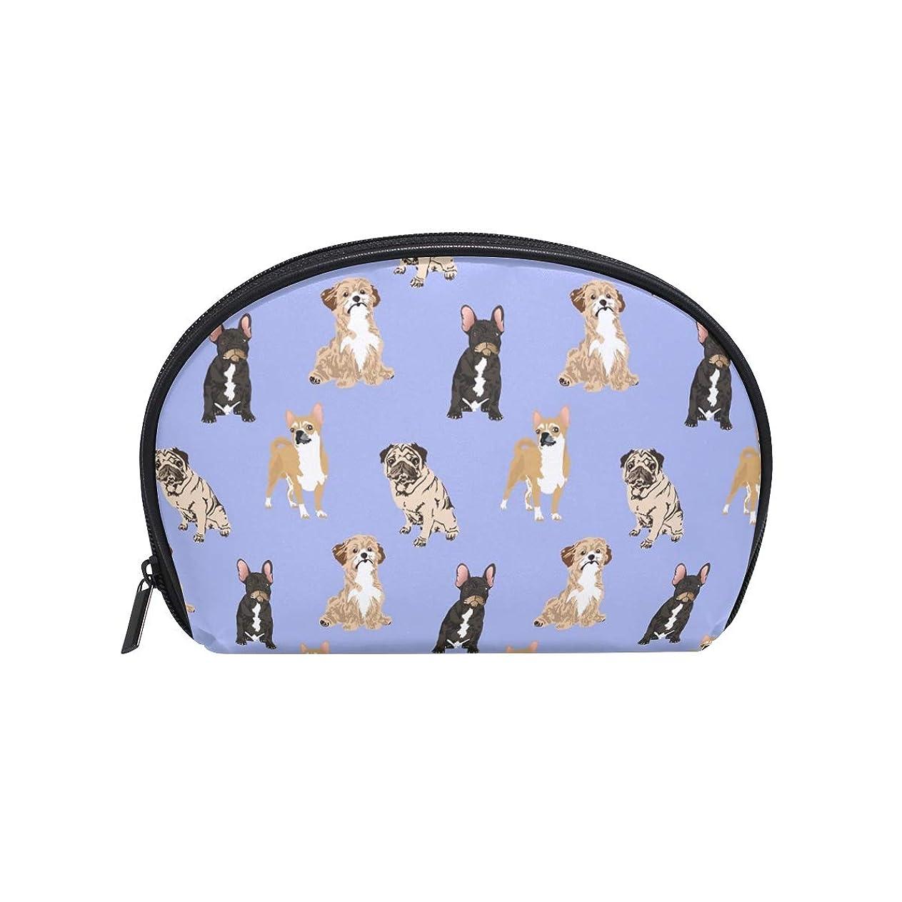 心のこもった決定するかもしれない半月型 犬柄 動物柄 ペット 化粧ポーチ コスメポーチ コスメバッグ メイクポーチ 大容量 旅行 小物入れ