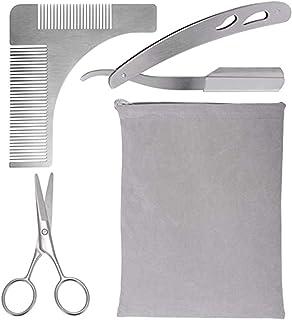 4pcs Beard Grooming Kit with Beard Brush, Beard Care Set for Mens Gift