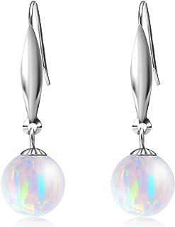 18K White Gold Earrings for Women, Simulated Opal Dangle Earring, Fine Jewelry