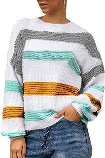 FSSE Women's Fall & Winter Crewneck Knit Contrast Loose Fit Pullover Sweater