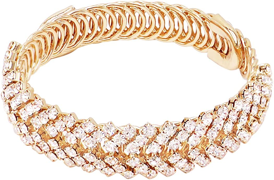 Rosemarie & Jubalee Women's Stunning Chevron Crystal Rhinestone Flexible Wire Wrap Cuff Bracelet, 8.5