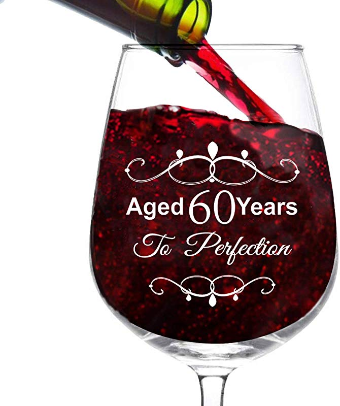 Aged 60 Years To Perfection 60th Birthday Gifts For Women And Men Wine Glass 60 Year Old Party Favors Decorations For Him Or Her Vintage Funny Birthday Gift Ideas For Mom Dad Husband Wife 12Oz